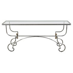 French Midcentury Steel Console Table with Glass Top, Spheres and Scrolling Feet