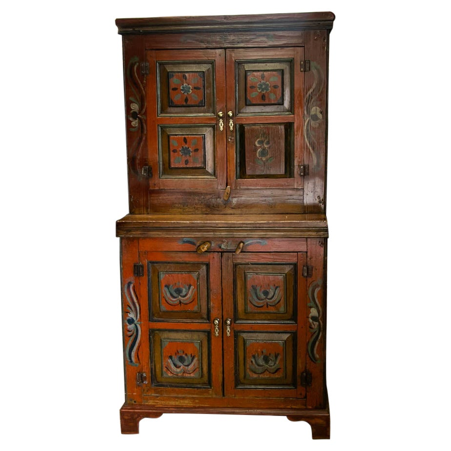 Painted Russian Stepback Cupboard