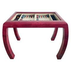 Enrique Garcel Vintage Red Goatskin Backgammon Checkers Game Table