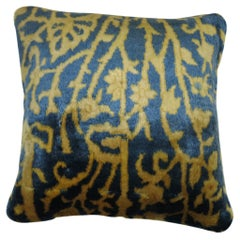 Blue Gold Indian Agra Rug Pillow