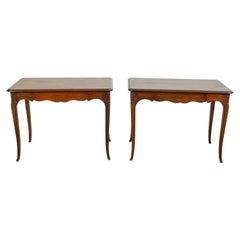 Pair of French 1900s Oak Console Tables with Single Drawers and Scalloped Aprons