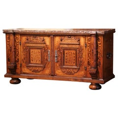18th Century Swiss Renaissance Carved Walnut Marquetry Buffet with Marble Top