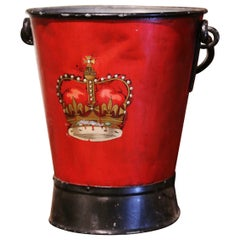 19th Century English Hand Painted Iron Coal Bucket with Coat of Arms Decor