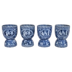 Spode Pottery Blue Greek Pattern Double Egg Cups