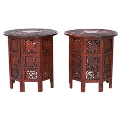 Pair of Antique Anglo Indian Carved Wood Stands or Tables