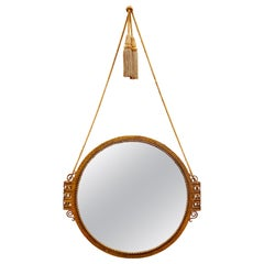 French Art Deco Wrought Iron & Gold Finish Wall Mirror