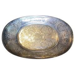 20th Century English Barker Ellis Silver Plate Dish, Marked