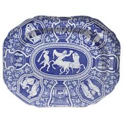 Copeland & Garrett Pottery Neo-Classical Greek Pattern Blue Dish