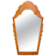 Italian Art Deco Wall Mirror with Silver Leafed Layered Wood
