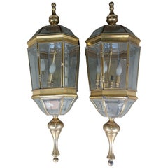 Grand Pair of Large Brass with Beveled Glass Carriage Lamps
