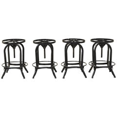 Industrial Style Iron Frame Adjustable Height Swivel Bar Stools - Set of 4