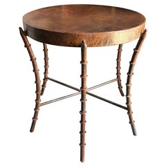 Vintage Oxidized Iron Faux Bamboo Circular Side Table