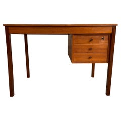 Midcentury Danish Modern Teak Small Desk 3 Drawers Top Lockable Drawer