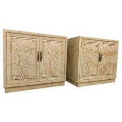 """Henredon """"Folio 16"""" Asian Goatskin Cabinets, a Pair"""