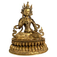 Large Vintage Nepalese Gilt Bronze Vajrasattva Buddha, Mid 20th Century