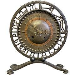 """Zodiac Clock,"" Spectacular Art Deco Sculptural Clock in Wrought Iron and Copper"