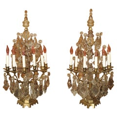 Pair of Antique French Crystal and Bronze Girandoles, Circa 1890