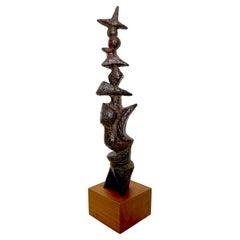 Marcel Marti Bronze Abstract Totem Sculpture