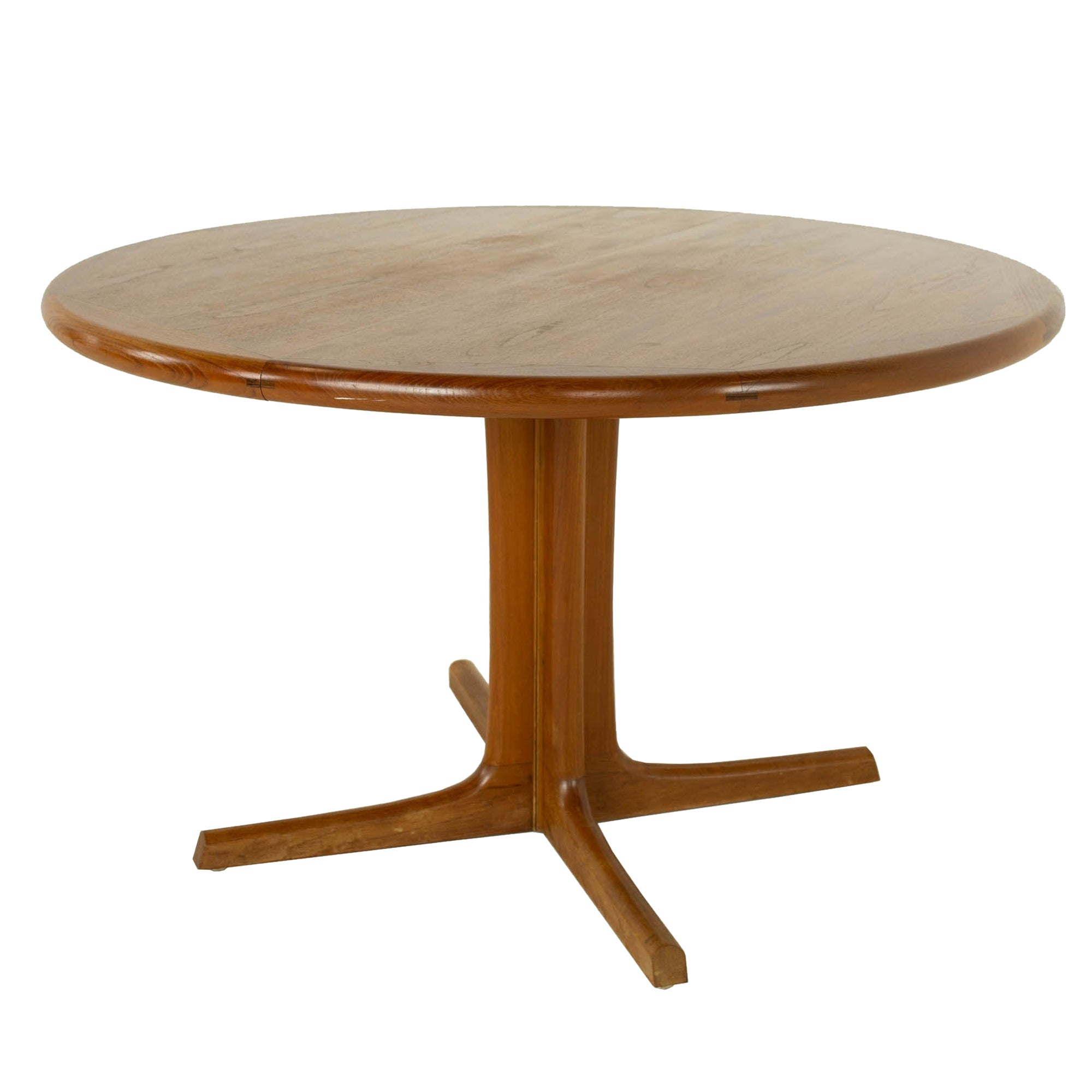 D-Scan Mid Century Teak Round Dining Table, 2 Leaves