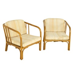 Franco Albini Style Mid Century Italian Rattan Lounge Chair, Pair