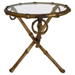 Gilt Metal Bamboo Round Tripod Side Table