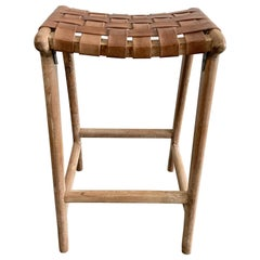 Woven Leather Strap Counter Stools