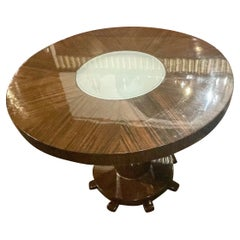 Macassar Round Art Deco Coffee Side Table with Center Light