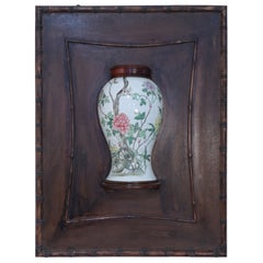 Chinese Porelain Famille Rose Vase and Wood Wall Plauqe