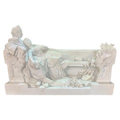 Italian Carved Marble Group of a Roman Caesar and  His Lover by Battelli