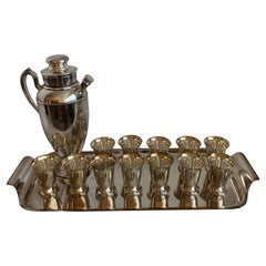 1950s Silver Plated R Monogrammed Cocktail Set