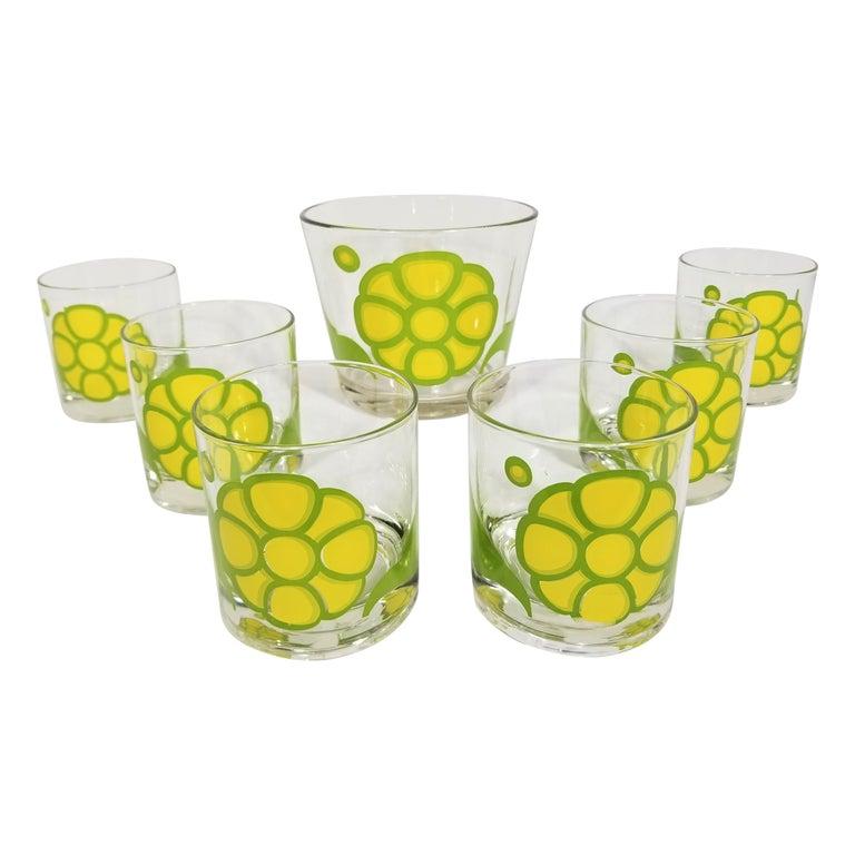 Colony Glassware Barware Mid Century Set of 6 with Ice Bucket For Sale