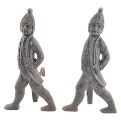 Pair of Antique Cast Metal Figural Soldier Fireplace Andirons