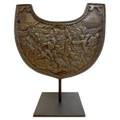 19th C Grand Tour Roman Style Iron Gorget on Stand
