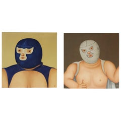Pair of Rare Mexican Wrestling paintings