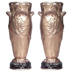 Pair of French Art Nouveau Barbedienne Bronze Dore Vases