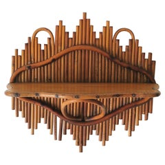 Wicker Pencil Reed and Bentwood Wall Shelf