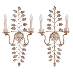Pair of Bagues French Mid-Century Glass and Gilt Metal Sconces