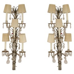 Pair of French 1940s Tall Metal and Crystal Wall Sconces