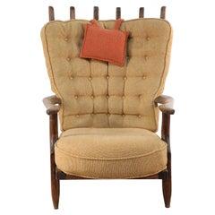 Guillerme et Chambron Mid-Century French Grand-Repos Slat Back Beige Upholstered