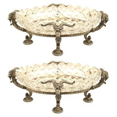 Pair of French Victorian Compotes with Silver Plated Rams' Heads