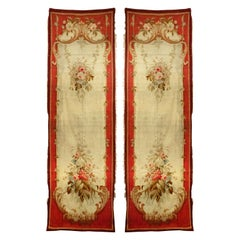 Pair of French Victorian Aubusson Floral Tapestries