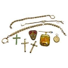 Collection Antique German Art Nouveau Jewelry Brooch Watch Chain Pendants 1900s