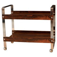 Vintage Rosewood and Chrome Bar Cart by Richard Young