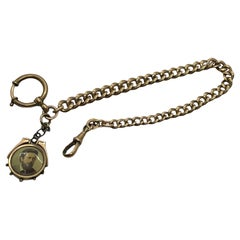Antique German Art Nouveau Jewelry Pocket Watch Chain with Fob, 1900s