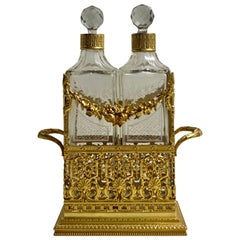High Quality French Bronze Dore Double Decanters and Stand