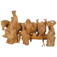 8 20th C. Chinese Carved Wood Figurines Journey to the West Sanxing Hotei Taipei