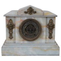 Antique Ansonia White Onyx Mantel Clock Brass Ormolu Caryatid Open Escapement