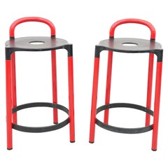 Pair of Anna Castelli Polo Low Bar Stools Mod. 4823, Kartell, 1979