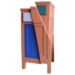 21st Century Cabinet-Sculpture Contemporary Blue-Green-Red Colors in Wood-Resin