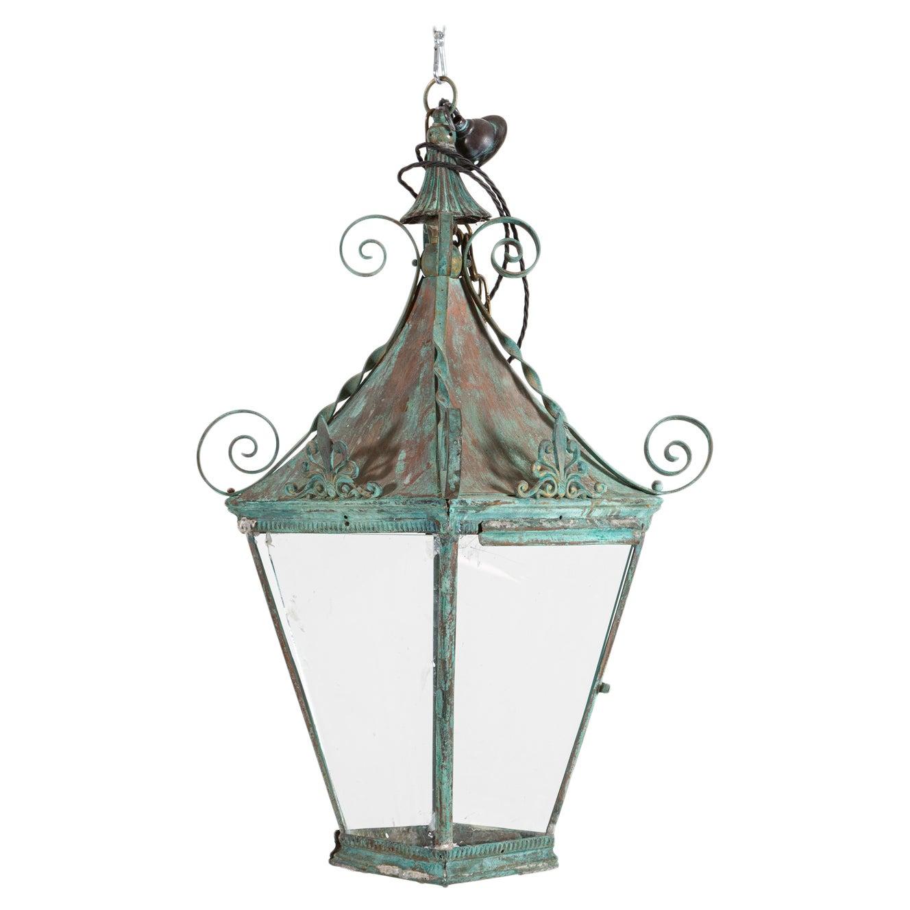 Arts & Crafts Verdigris Brass & Copper Hall Lantern